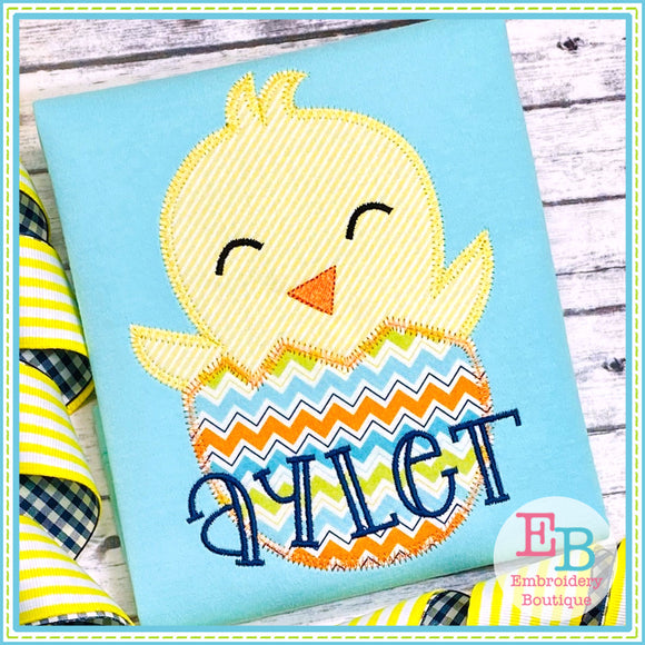 Chick Egg Zigzag Applique