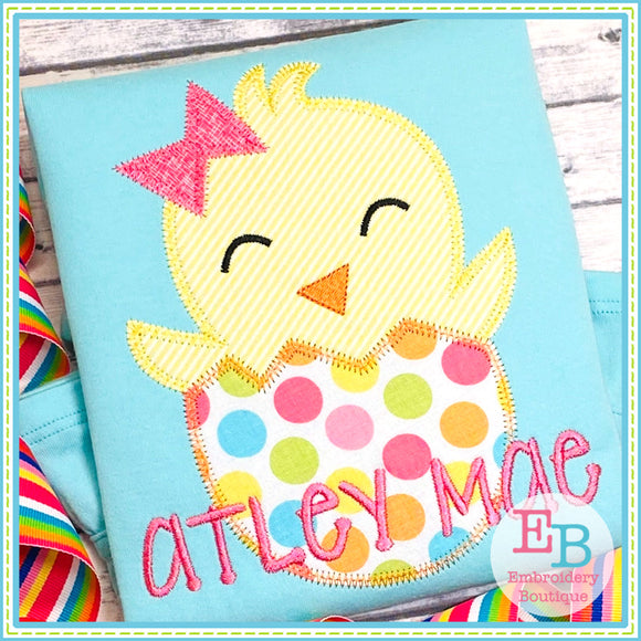 Chick Egg Bow Zigzag Applique