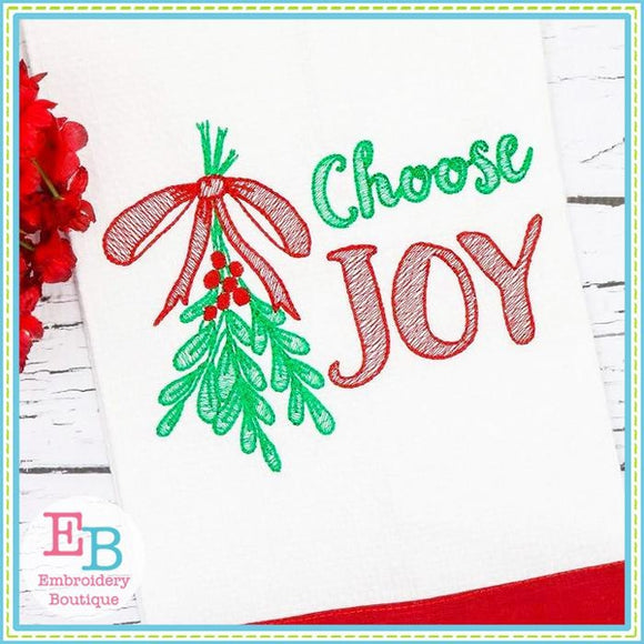 Choose Joy Sketch Design, Embroidery