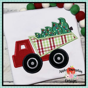 Christmas Dump Truck Applique Design Embroidery Boutique
