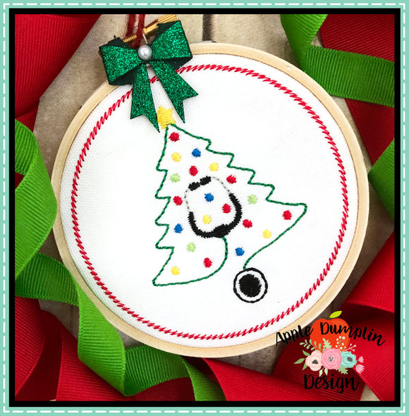 Stethoscope Christmas Tree Ornament Embroidery Design