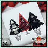 Christmas Tree Trio Applique Design - embroidery-boutique