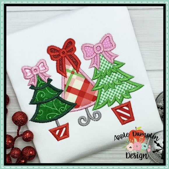 Christmas Tree Trio with Bows Applique Design, Applique