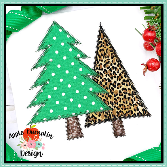 Christmas Trees Zigzag Applique  Design, Applique
