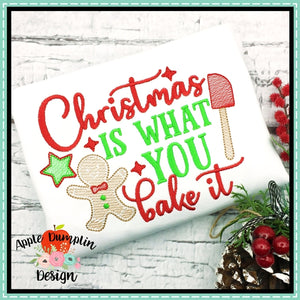 Christmas Is What You Bake It Sketch Embroidery Design, applique