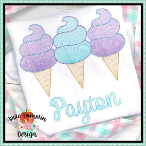 Cotton Candy Ice Cream Trio Sketch Embroidery Design