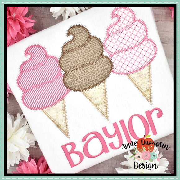Cotton Candy Ice Cream Trio Zigzag Applique Design