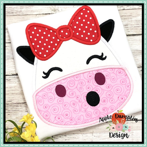 Cow with Bow Head Applique Design