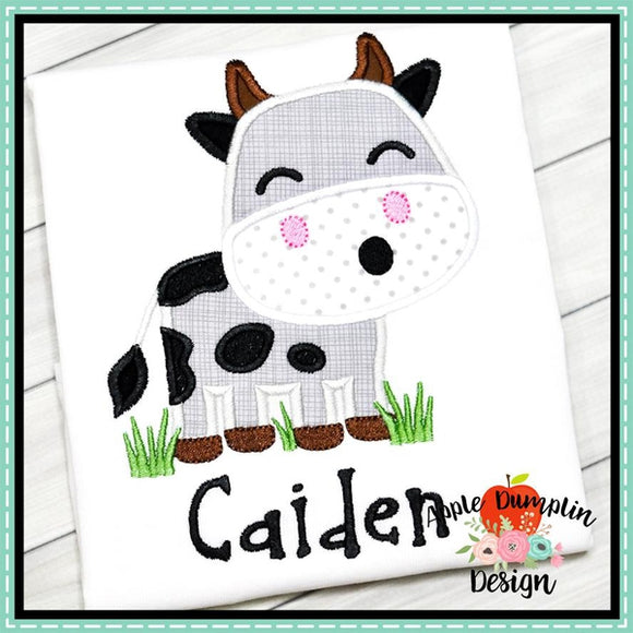 Cow in Grass Boy Applique Design