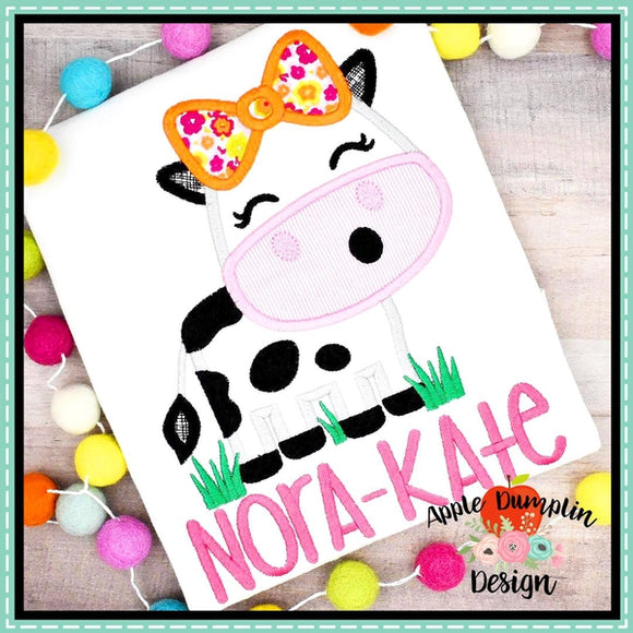 Cow in Grass Girl Applique Design