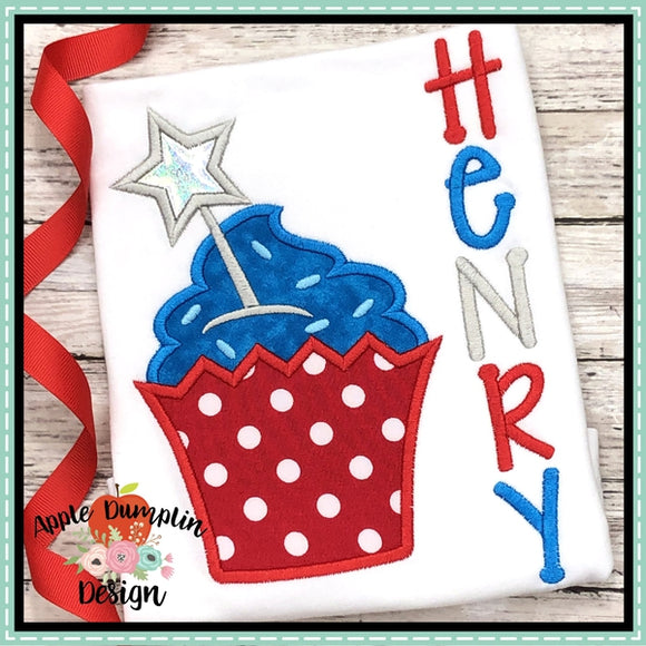 4th of July Cupcake Applique Design, applique