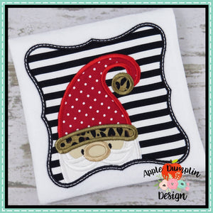 Santa Gnome in Curvy Frame Applique Design
