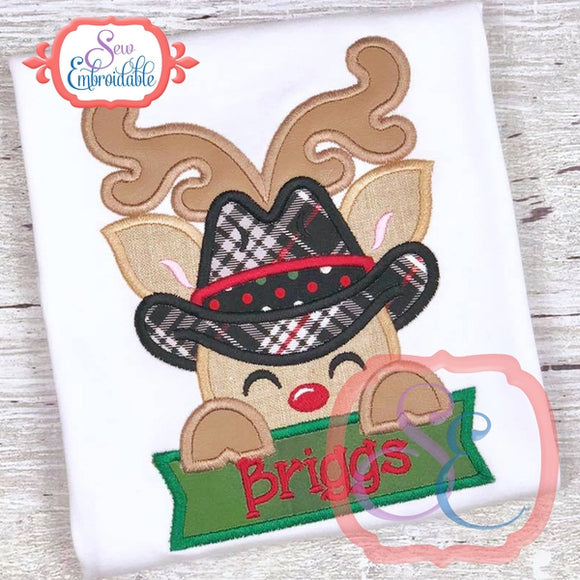 Deer Cowboy with Banner Applique - embroidery-boutique
