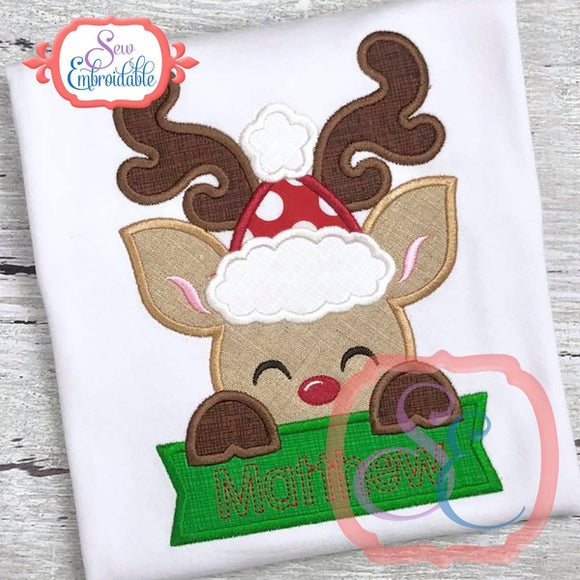 Deer Santa Hat with Banner Applique - Embroidery Boutique