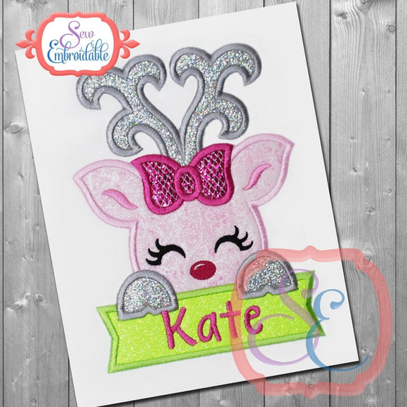 Deer Girl with Banner Applique - embroidery-boutique