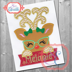 Deer Girl Glasses with Banner Applique - embroidery-boutique