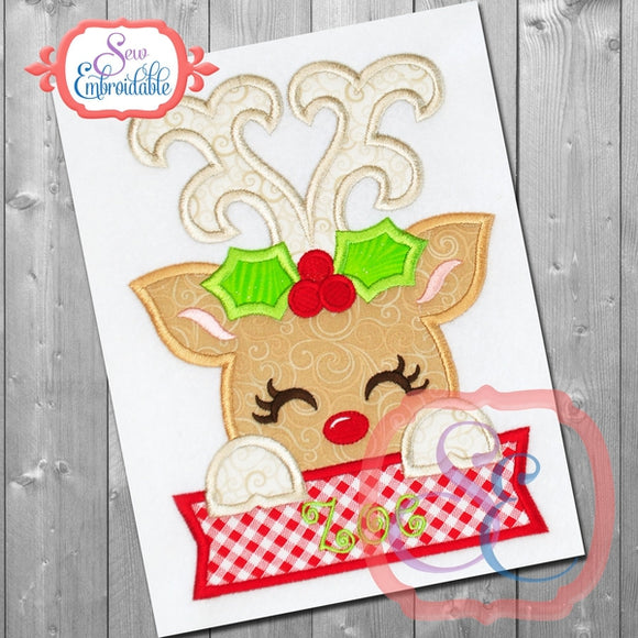Deer Girl Holly with Banner Applique - Embroidery Boutique