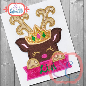 Deer Tiara with Banner Applique - embroidery-boutique