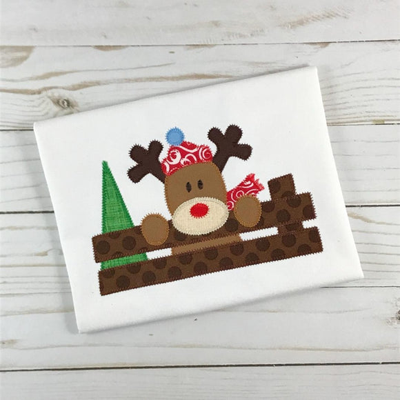 Christmas Deer Zig Zag Stitch Applique Design, Applique