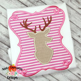 Deer Silhouette in Frame Applique Design, applique