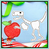 T-Rex Skeleton Apple Bean Stitch Applique Design, Applique