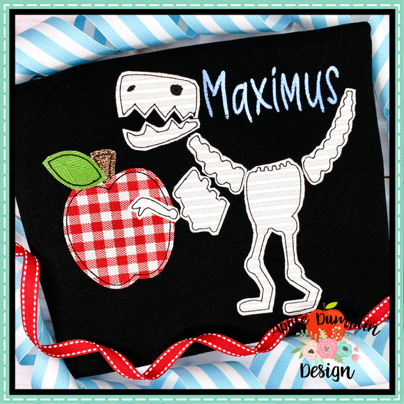 T-Rex Skeleton Apple Bean Stitch Applique Design