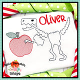 T-Rex Skeleton Apple Sketch Embroidery Design, Embroidery