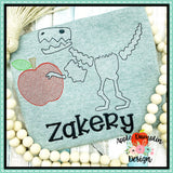 T-Rex Skeleton Apple Sketch Embroidery Design