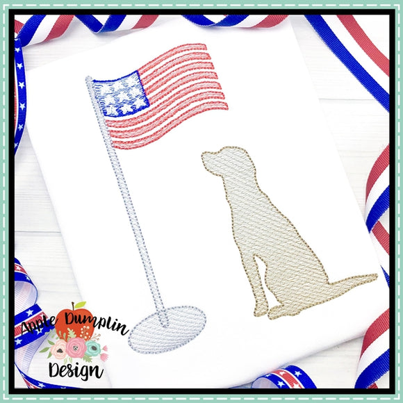 Dog with American Flag Sketch Embroidery Design