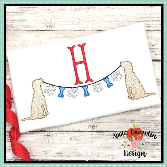 Dogs with Paw Banner Sketch Embroidery Design
