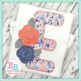 Sweet Roses Blanket Stitch Applique Alphabet, Applique Alphabet