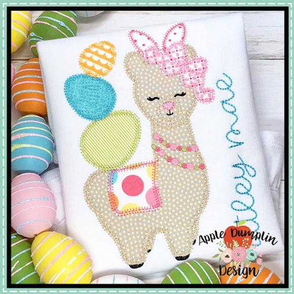Easter Llama with Egg Stack Zigzag Applique Design