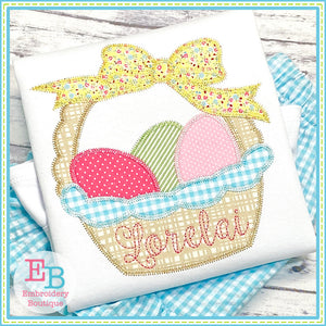 Easter Basket Bow Zigzag Applique-Embroidery Boutique