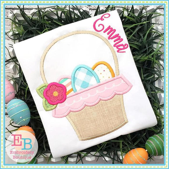Easter Basket with Eggs Satin Applique