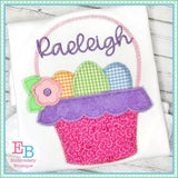 Easter Basket with Eggs Zigzag Applique