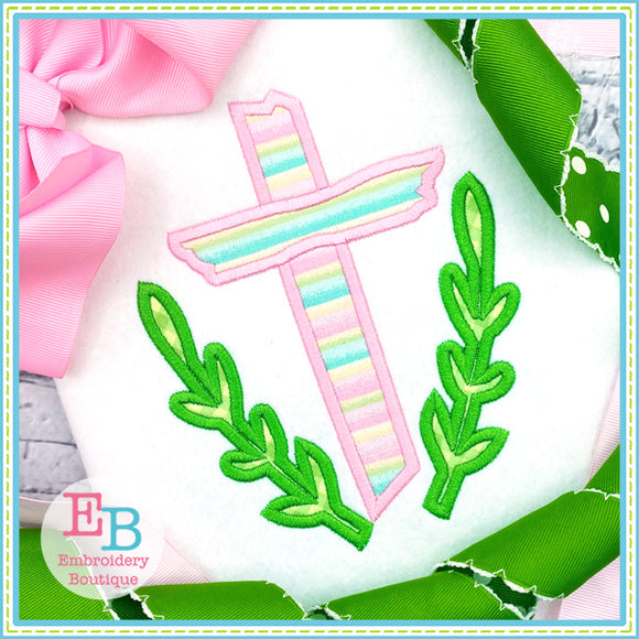 Easter Wooden Cross Satin Applique-Embroidery Boutique