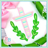 Easter Wooden Cross Satin Applique