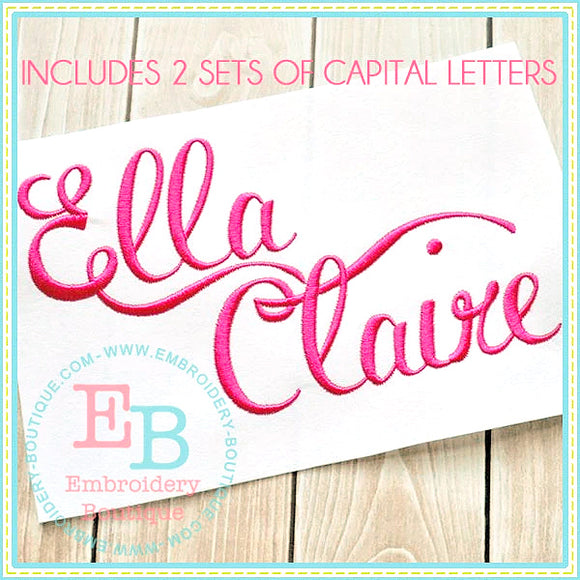 Ella Claire Embroidery Font, Embroidery Font