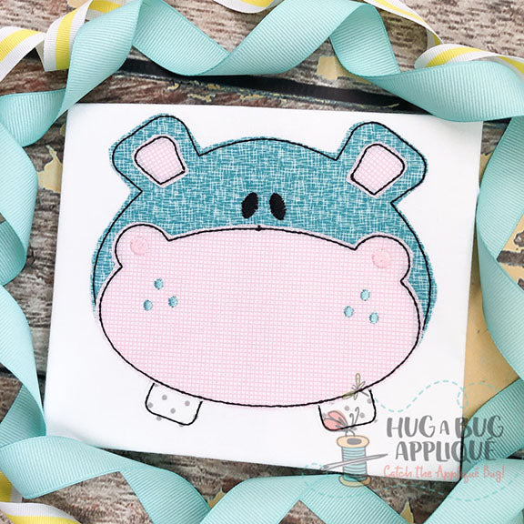 Hippo Bean Stitch Applique, Applique