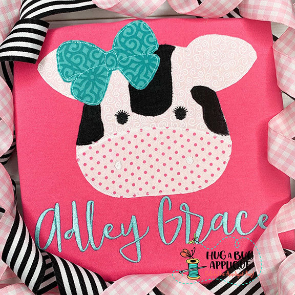Cow Bow Bean Stitch Applique Design