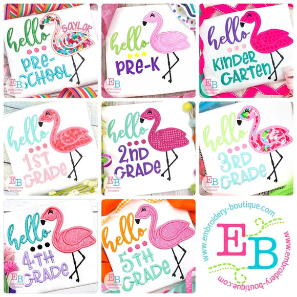Hello Grade Flamingo Applique Bundle, Applique
