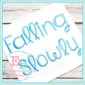 Falling Slowly Embroidery Font, Embroidery Font