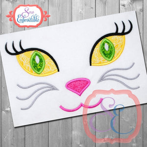 Fancy Cat Face Applique - embroidery-boutique
