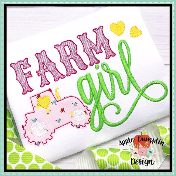 Farm Girl Bean Stitch Applique Design