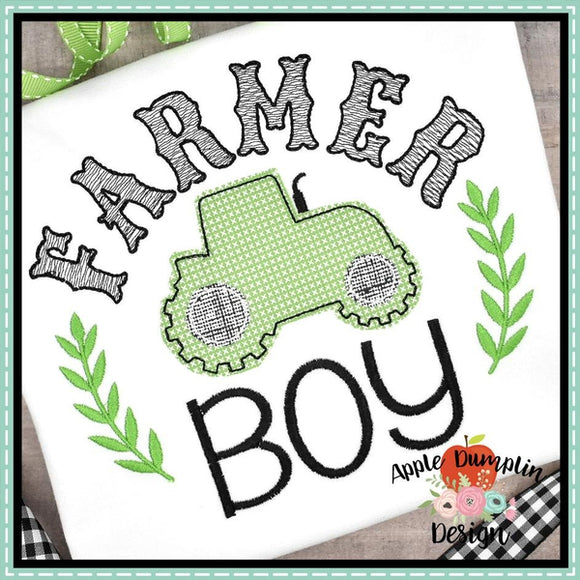 Farmer Boy Bean Stitch Applique Design