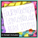 Farmhouse Lemonade Bean Embroidery Alphabet, Embroidery Font
