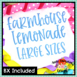 Large Sizes Farmhouse Lemonade Alphabet, Embroidery Font