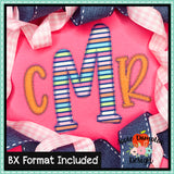 Farmhouse Lemonade Zigzag Applique Alphabet, Applique Alphabet