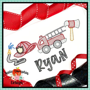 Fire Truck 4 in a Row Sketch Design, applique