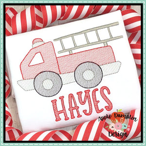 Fire Truck Sketch Embroidery Design, applique